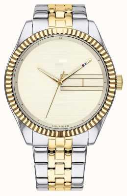 Tommy Hilfiger | bracelete de aço inoxidável de dois tons para mulher | mostrador de champanhe 1782083