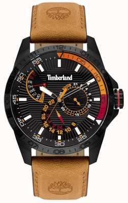 Timberland | relógio oakham para homem | pulseira de couro marrom | mostrador preto | 15641JSB/02