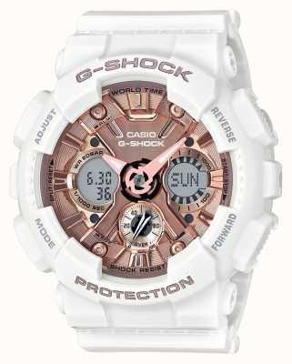Casio | g-choque branco e ouro rosa | analógico e digital | GMA-S120MF-7A2ER