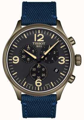 Tissot | mens crono xl | pulseira de tecido azul | mostrador preto | T1166173705701