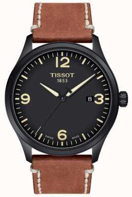 Tissot | mens xl | mostrador preto | pulseira de couro marrom | T1164103605700