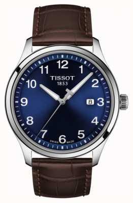 Tissot | mens xl | mostrador azul | pulseira de couro marrom | T1164101604700