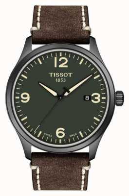 Tissot | mens xl | mostrador verde | pulseira de couro marrom vaca em relevo | T1164103609700