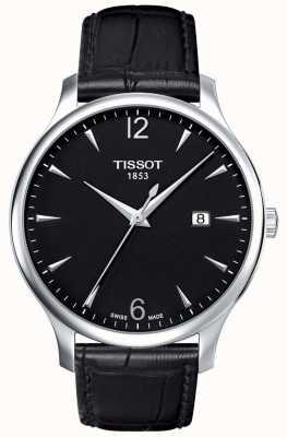Tissot   mens tradicional   pulseira de couro preto   mostrador preto   T0636101605700