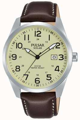 Pulsar Mens esporte pulseira de couro marrom solar PX3165X1
