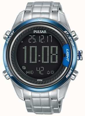 Pulsar Mens pulseira de aço inoxidável digital P5A003X1