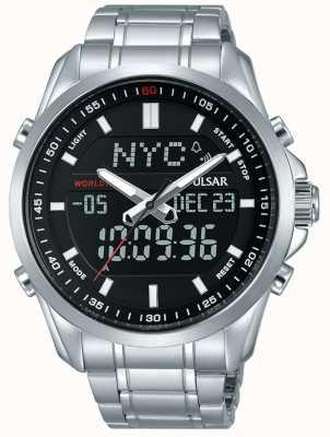 Pulsar Mens pulseira de aço inoxidável display analógico digital PZ4021X1