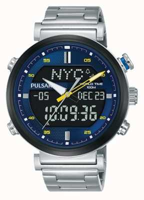 Pulsar Mens analógico digital de aço inoxidável mostrador azul PZ4049X1