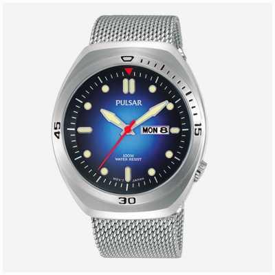 Pulsar Mens pulseira de couro extra de malha de aço inoxidável mostrador azul PJ6097X2