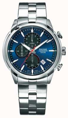 Pulsar Bracelete de aço inoxidável mens cronógrafo azul PM3115X1
