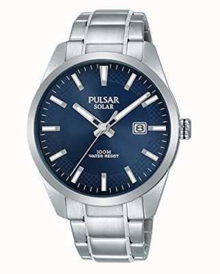 Pulsar Mens pulseira de aço inoxidável de mostrador azul solar PX3181X1