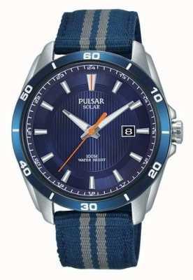 Pulsar Mens solar blue dial pulseira de nylon azul PX3177X1