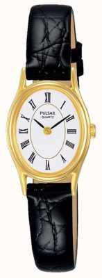 Pulsar Bracelete de couro preto de mostrador branco para mulher PPGD74X1