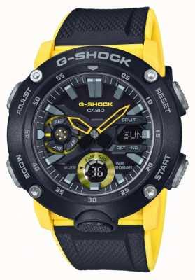 Casio   g-shock guarda núcleo de carbono   pulseira amarela preta   GA-2000-1A9ER