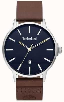 Timberland | mens rollinsford | pulseira de couro marrom | mostrador azul | 15637JYS/03