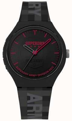 Superdry | mens urbano xl | pulseira de silicone cinza | mostrador preto | SYG251B