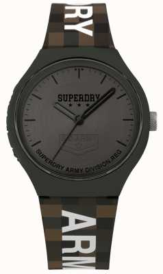 Superdry | mens urbano xl | pulseira de silicone de dois tons | cinza de bronze SYG251E