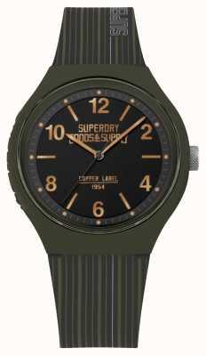 Superdry | mens urbano xl | pulseira de silicone cáqui | mostrador preto | SYG252N