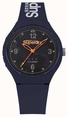 Superdry | mens urbano xl | pulseira de silicone azul | mostrador azul | SYG254U