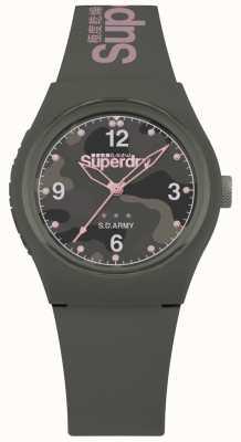 Superdry | mulheres urbanas | pulseira de silicone cáqui | mostrador cinzento estampado SYL254NP