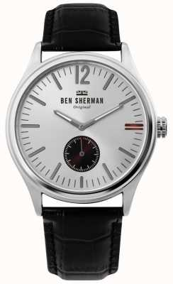 Ben Sherman | mens harrison city | mostrador prateado | couro preto croc | WB035B