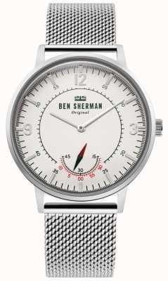 Ben Sherman | herança portobello mens | mostrador branco | malha inoxidável WB034SM