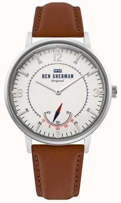 Ben Sherman | herança portobello mens | mostrador branco | couro bronzeado | WB034T