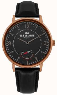 Ben Sherman | herança portobello mens | mostrador preto | couro preto | WB034B