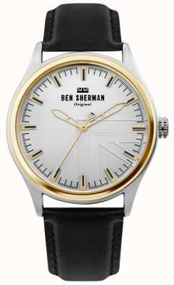Ben Sherman | mens harrison | pulseira de couro preto | mostrador prateado | WB036B