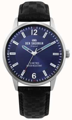 Ben Sherman | mens daltrey social | pulseira de couro preto | mostrador azul | WB029BU