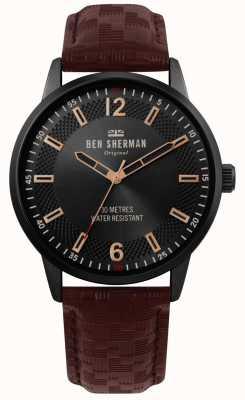 Ben Sherman | mens daltrey social | pulseira de couro marrom | mostrador preto | WB029TB