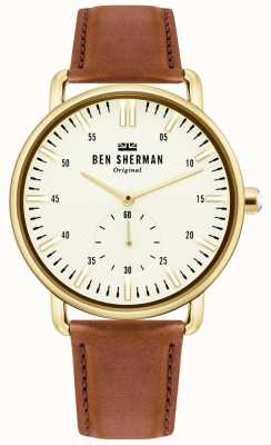 Ben Sherman | cidade de brighton dos homens | pulseira de couro marrom | mostrador branco | WB033TG
