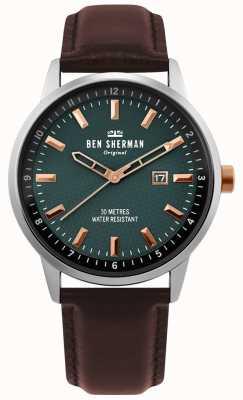 Ben Sherman | mens daltrey professional | couro marrom | mostrador verde | WB030NT