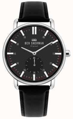Ben Sherman | cidade de brighton dos homens | pulseira de couro preto | mostrador preto | WB033BB