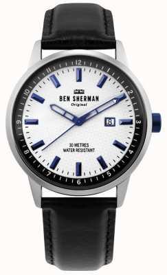 Ben Sherman | mens daltrey professional | couro preto | mostrador branco | WB030B