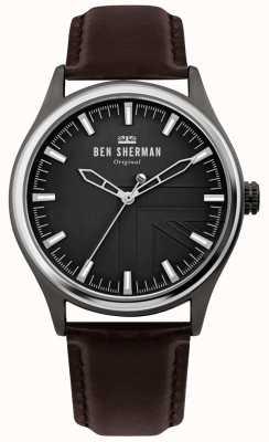 Ben Sherman | mens harrison | pulseira de couro marrom | mostrador preto | WB036T