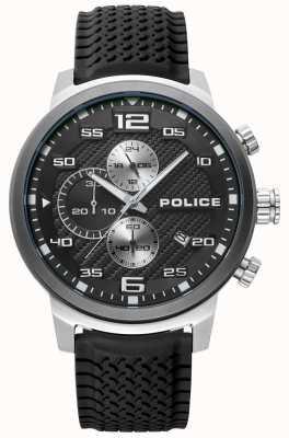 Police | mens bromo | pulseira de silicone preta | mostrador preto | 15657JSTU/02P