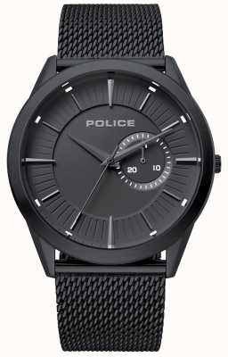 Police | mens helder | alça de malha preta | mostrador preto | 15919JSB/02MM