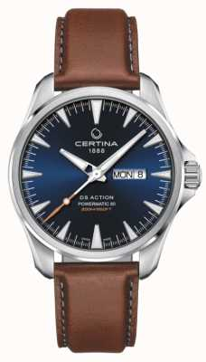 Certina | ds action day-date powermatic 80 | mostrador azul | pulseira marrom C0324301604100