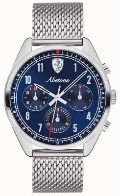 Scuderia Ferrari | mens abetona | mostrador azul | pulseira de malha de prata | 0830572