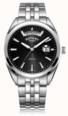 Rotary   henley dos homens   mostrador preto   pulseira de aço inoxidável   GB05290/04