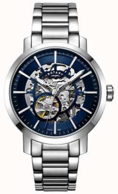 Rotary | esqueleto de greenwich dos homens | pulseira de aço inoxidável | GB05350/05
