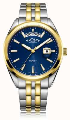Rotary | henley para homem | mostrador azul | pulseira de aço inoxidável | GB05291/05