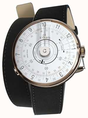 Klokers Klok 08 relógio branco cabeça mat preto 420mm dupla alça KLOK-08-D1+KLINK-02-420C2