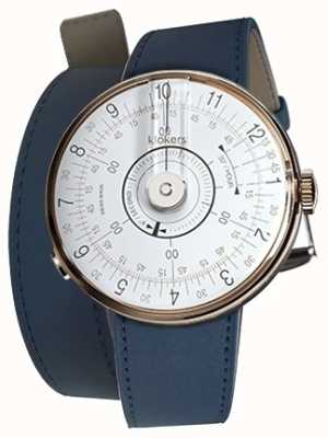 Klokers Klok 08 relógio branco cabeça indigo azul 420mm dupla alça KLOK-08-D1+KLINK-02-420C3