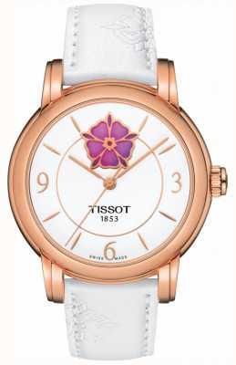 Tissot Womens coração flor powermatic 80 pulseira de couro branco T0502073701705