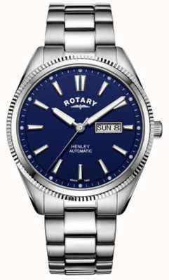 Rotary | mens henley | moldura serrilhada | mostrador azul | aço inoxidável GB05380/05
