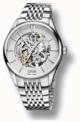 Oris | esqueleto de artelier automático | pulseira de aço inoxidável | 01 734 7721 4051-07 8 21 79