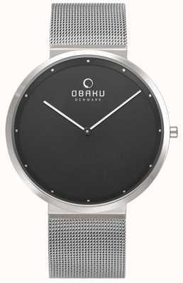 Obaku | mens papir onyx | pulseira de malha de prata | mostrador preto | V230GXCBMC