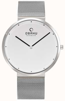 Obaku | mens papir steel | pulseira de malha de prata | mostrador branco | V230GXCWMC